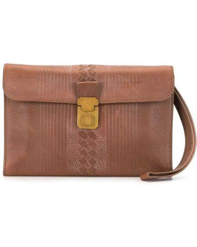 Золотистый с ремешком кожаный коричневый клатч Bottega Veneta Pre-owned