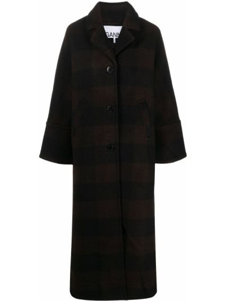 Шерстяное черное длинное пальто с карманами Ganni