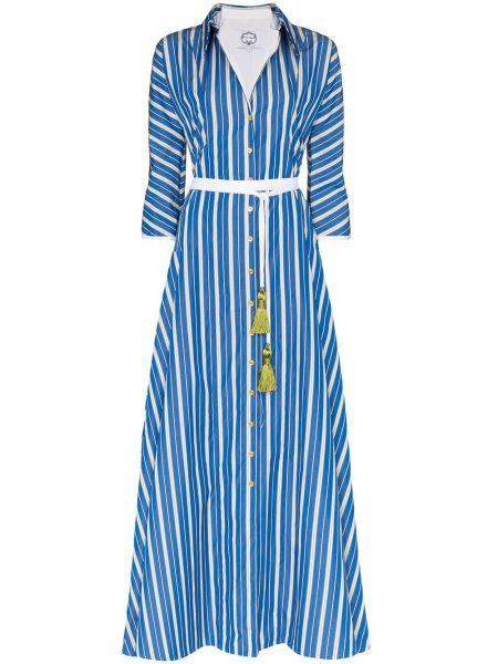 Klasyczna niebieska sukienka długa w paski Evi Grintela