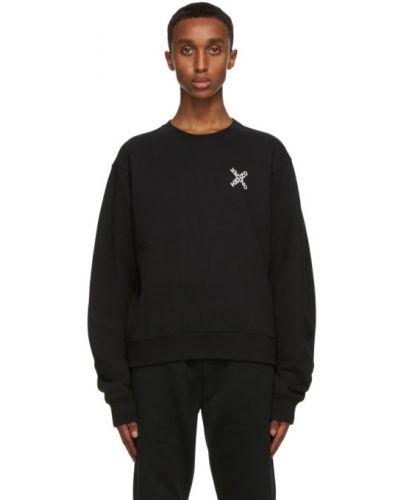 Czarny frotte bluza z długimi rękawami z mankietami Kenzo