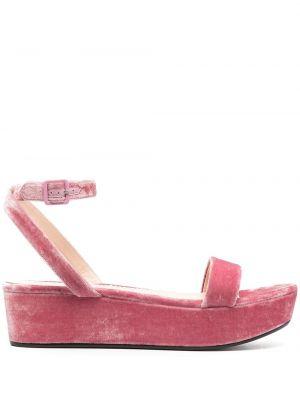 Różowe sandały skorzane klamry Emilio Pucci