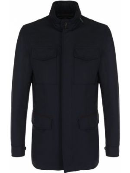 Кожаная синяя куртка с капюшоном на молнии с декоративной отделкой Ermenegildo Zegna