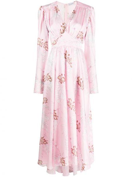 Платье миди розовое с цветочным принтом Paco Rabanne
