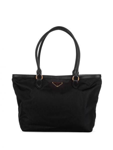 Золотистая черная нейлоновая сумка-тоут с подкладкой Prada Pre-owned