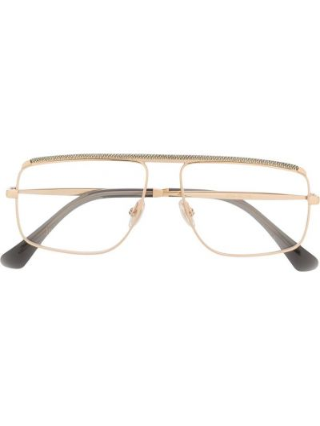 Золотистые желтые очки авиаторы металлические Jimmy Choo Eyewear