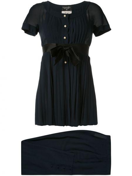 Деловая прямая блузка прозрачная с вырезом Chanel Pre-owned