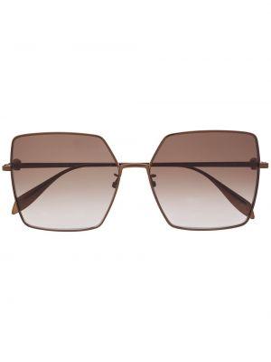 Коричневые солнцезащитные очки оверсайз металлические Alexander Mcqueen