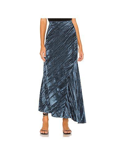 Бархатная синяя юбка на резинке Free People