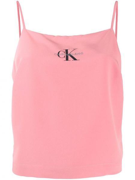 Кроп-топ розовый с леопардовым принтом Calvin Klein Jeans