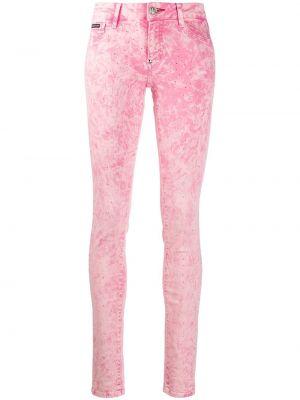 Джинсы-скинни на пуговицах розовый Philipp Plein