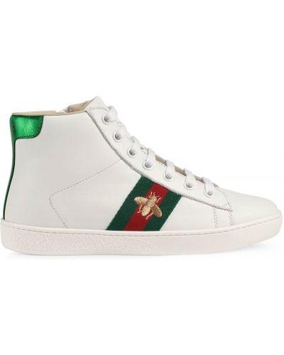 Белые кожаные хайтопы Gucci Kids