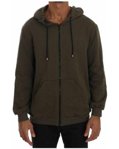 Bawełna zielony sweter z kapturem Daniele Alessandrini