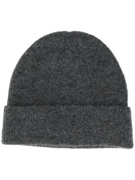 Серая кашемировая тонкая шапка бини с отворотом Allude