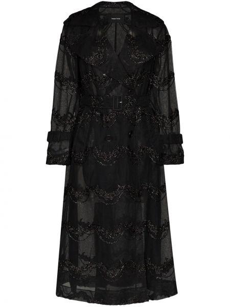 Czarny płaszcz z paskiem klamry Simone Rocha