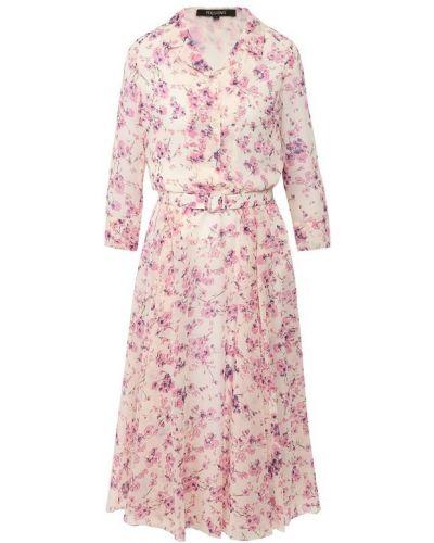 Платье с поясом из вискозы Poustovit