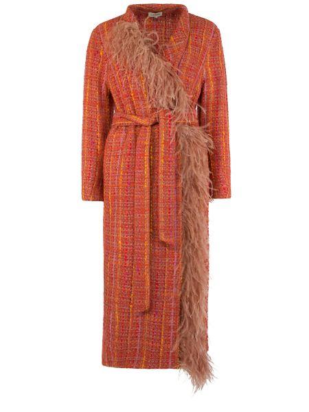Красное шерстяное пальто с воротником с поясом A La Russe