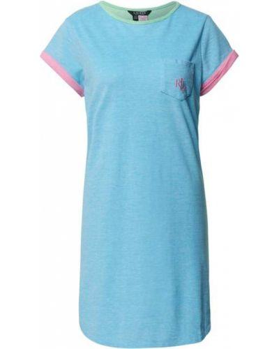 Koszula nocna bawełniana - turkusowa Lauren Ralph Lauren