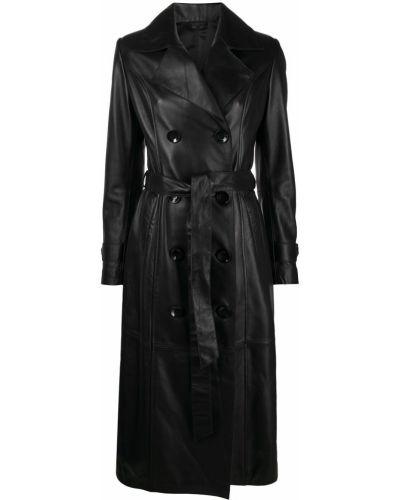 Черное кожаное длинное пальто двубортное Manokhi