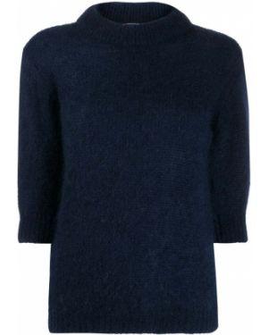 Синий свитер из мохера в рубчик Lardini