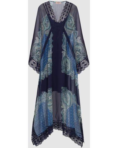 Синее кружевное платье макси с декоративной отделкой Twin-set