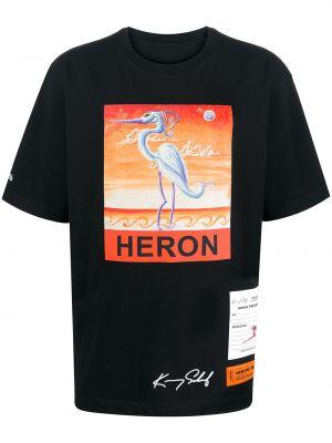 Bawełna prosto czarny koszula krótkie z krótkim rękawem z łatami Heron Preston