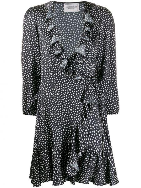 Czarna sukienka długa w grochy z długimi rękawami Forte Dei Marmi Couture