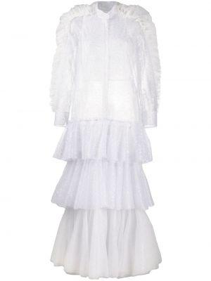 Серебряное платье миди на пуговицах со вставками с воротником Viktor & Rolf