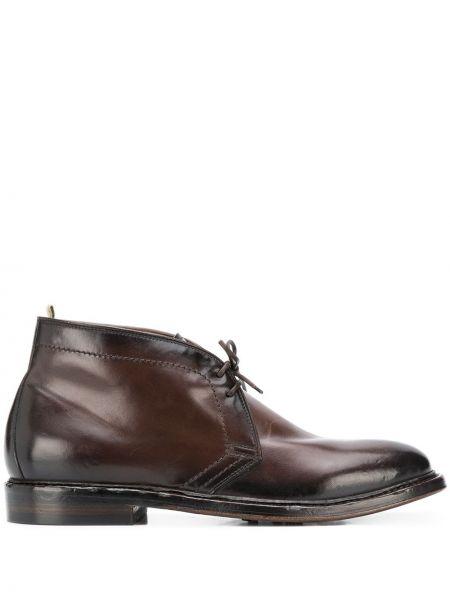 Brązowy skórzany buty zasznurować okrągły Officine Creative
