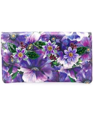 Fioletowa złota kopertówka w kwiaty Dolce And Gabbana