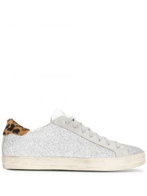 Хлопковые серебряные кроссовки на шнуровке P448