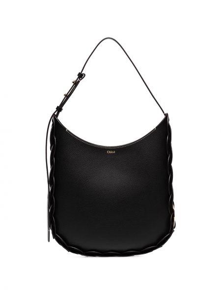 Кожаная черная кожаная сумка на молнии Chloé