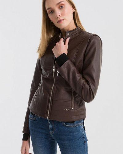 Кожаная куртка весенняя коричневая Ltb