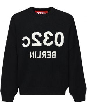 Prążkowany czarny sweter wełniany 032c