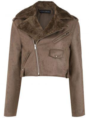 Кожаная куртка длинная - коричневая Gloria Coelho