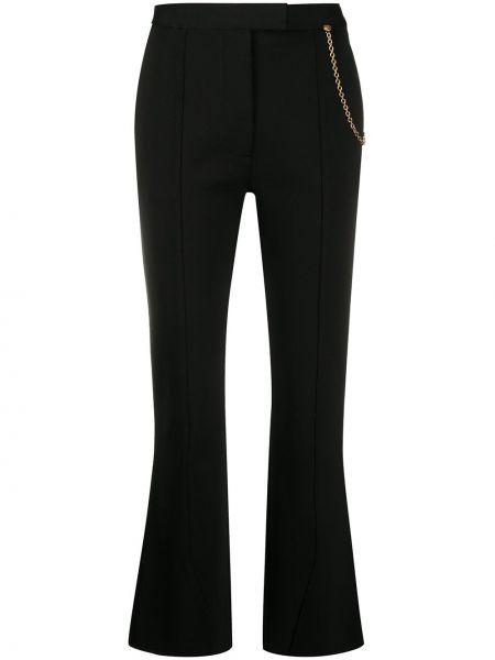 Spodni rozbłysnął czarny przycięte spodnie z kieszeniami Givenchy