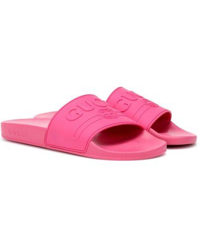 Klapki na basen różowy Gucci