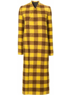 Żółty długo płaszcz z alpaki z długimi rękawami z mankietami Rick Owens