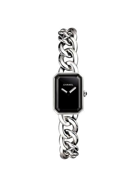 С ониксом серые кварцевые часы Chanel