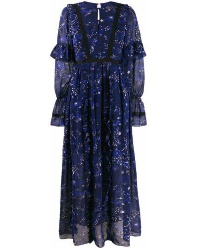 Платье макси с длинными рукавами с оборками Three Floor