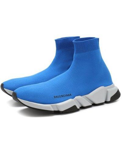 Голубые кроссовки текстильные Balenciaga