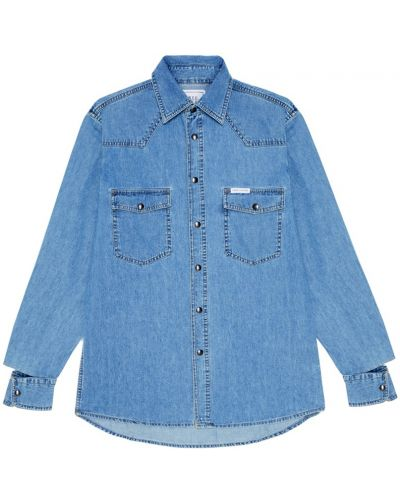 Хлопковая синяя джинсовая куртка с накладными карманами Forte Couture