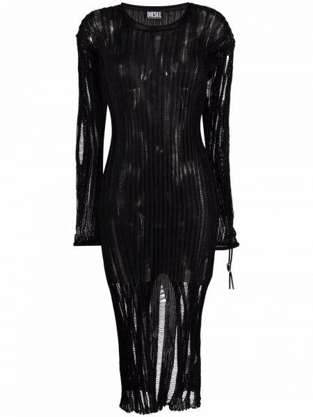 Трикотажное кружевное черное платье миди Diesel