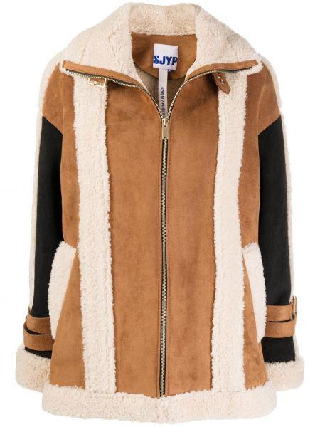 Черная длинная куртка с воротником с карманами Sjyp