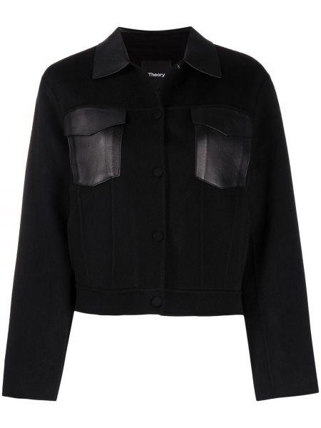 Прямая черная куртка на пуговицах с воротником Theory