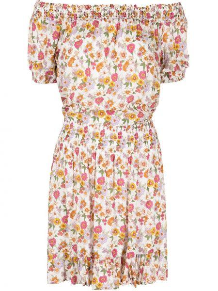 Шелковое платье мини с открытыми плечами с поясом Nicole Miller