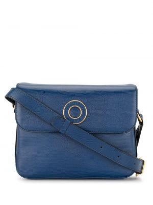 Синяя сумка на плечо металлическая на молнии с карманами Céline Pre-owned