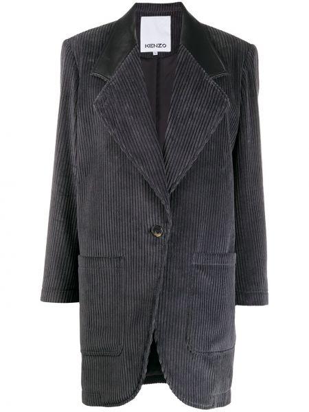 Однобортное серое кожаное длинное пальто Kenzo