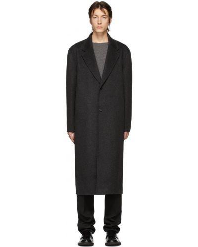 Ciepły czarny długi płaszcz wełniany Bottega Veneta