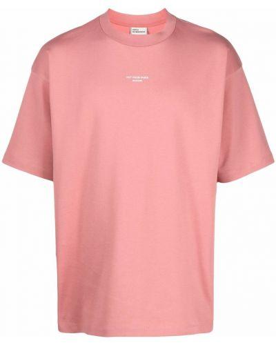Różowa T-shirt z nadrukiem z printem Drole De Monsieur