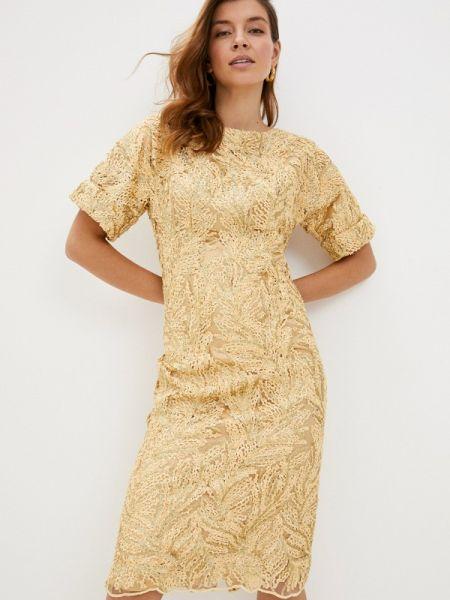 Вечернее платье осеннее золотой мадам т